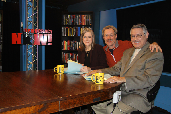 Eugene Beer, Chief Engineer and Producer for WCRS in the Democracy Now! Studio with Amy Goodman and Juan Gonzales